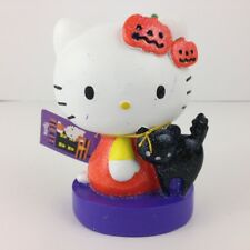 Hello Kitty Halloween Fall Figurine w Black Cat & Pumpkins Figure Ornament Decor