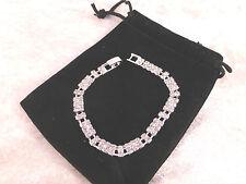 Silver Plated Rhinestone Tennis Bracelet Geometric Design Bridal, Prom or Party