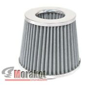 """UNIVERSAL 4/""""INCH HIGH FLOW COLD AIR SHORT RAM INTAKE DRY FILTER CHROME SILVER"""