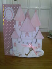 Hand made Princess castle 3D effect Birthday Or New Home card personalised
