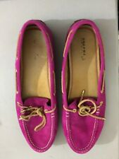 Sperry top sider women Slip On Flat Shoes size 9 Pink Lace Up Gold Charms STS