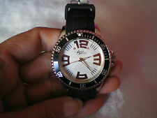 Diamond stainless steel watch, with black rubber strap, 0.01 carats, large face