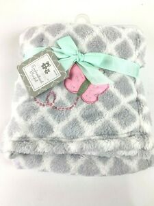 """Baby Girl Cribmates Gray White Pink Baby Blanket Embroidered Butterfly 30""""x36"""""""