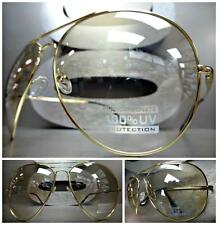 OVERSIZE HUGE CLASSIC 70's VINTAGE RETRO Style Clear Lens SUNGLASSES Gold Frame