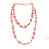 Vintage Pink Glass Bead Necklace Long Strand 9 mm 30""