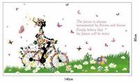 Blumen Schmetterling Fahrrad Frau Natur Kinder Wandsticker Wandtattoo Aufkleber