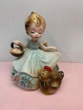 Rare Josef Originals Figurine Farmer'S Daughter - Girl With Chicken