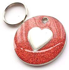 incisione personalizzata rosso glitter cuore - Cane / GATTO MEDAGLIETTA ID 26mm