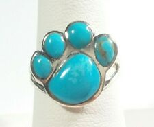 925 STERLING SILVER CUTE PUPPY PAW DESIGN TURQUOISE SIZE 7 RING