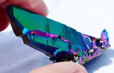 "Rainbow AURA FLAME Titanium Seed Quartz Crystal Healing Cluster LRG 2.2"" E2392"