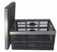 6 x Fold Flat Plastic Storage Crates Boxes Stackable 32 litre Black & Grey NEW