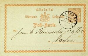 GERMANY WURTTEMBERG 1874 2kr POSTAL CARD FROM LUDWIGSBURG TO AACHEN