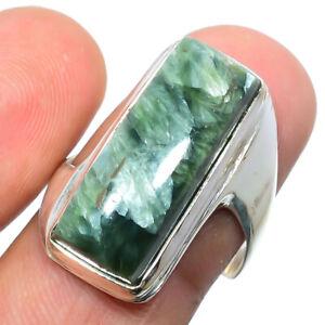 Seraphinite - Russia Gemstone 925 Silver Handmade Jewelry Ring s.9 S2618