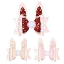 1X(Girls Children Princess Glitter Rabbit Ears Hair Bows Clips Handmade Hai K1N2