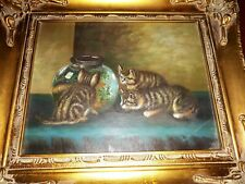 Oil Painting Of  Cats & Fish Bowl