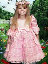 Pink Flower Girls Bridesmaids Victorian Formal Dress Wedding Party 18-24m VD003