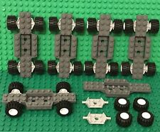 Lego X6 Vehicle Car Base With Tires,white Rims,plate Modified Wheel Holder Parts