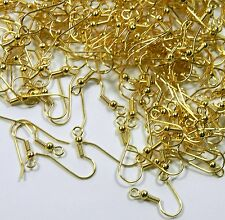 Surgical Steel Earring Earwires Hypoallergenic Gold Plated Fishhook with Ball 21