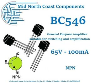 2/5/10pc BC546 65V 100mA 500mW NPN Switching Applications Transistor TO-92