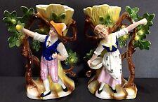 German Porcelain Man & Woman Figurines Picking Green Apples Bud Vases #8383