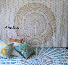 Small White Golden Ombre Mandala Hippie Twin Size Wall Decorative Tapestry Throw