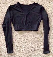 Black Varsity Spirit V-Neck Midriff 90% Polyester 10% Spandex Sz Adult Medium