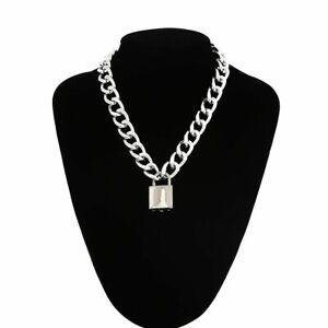 Goth Padlock Chain Necklace Women/Men Punk Choker Lock Fashion Pendant Necklace