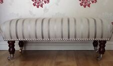 Footstool Stool In Laura Ashley Luxford Stripe Dove Grey Fabric