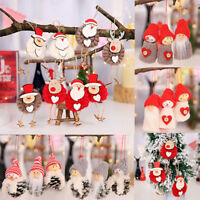 3Pcs Cute Santa Claus Christmas Ornaments Xmas Doll Pine Cone Tree Pendant Decor