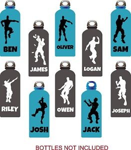 personalised fort nite inspired bottle name stickers school for drinks bottle