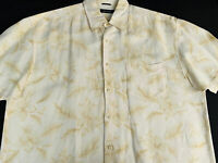 Nautica Mens Hawaiian Aloha Button Front Short Sleeve Linen Rayon Shirt XL