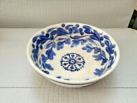 Vintage or Antique Unknown Ceramic Pottery Bowl Signed 9 3/8'' W ~ 3'' T AS IS