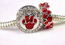 2 PC DISNEY MINNIE MOUSE RED ICON CHARM SPARKLE FOREVER RING + POUCH