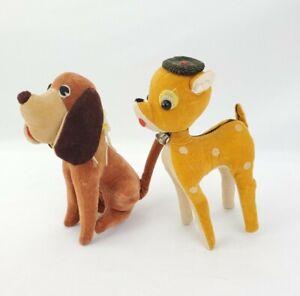 Vintage Dream Pet 60's Reindeer & Basset Hound Dog Stuffed Toys JAPAN lot 2
