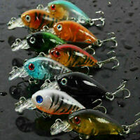 10Pcs/Lot Fishing Lures Kinds of Minnow Fish Bass Tackle Baits Hooks Crankb K8N4