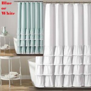 "Lush Decor Ella Lace Ruffle Shower Curtain Blue OR White 72"" x 72"" Ruffle Lace"