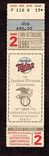 1991 ALCS GAME 2 TICKET STUB   Minnesota Twins vs  Toronto Blue Jays