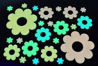 24 Piece Glow in the Dark Multicolor Flowers Wall Decor