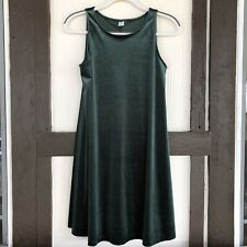 Old Navy Womens Small Sleeveless Green Velvet Dress A Line Swing Holiday Fall