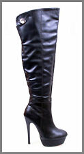 WOMAN SHOES SEXY BLACK PLATFORM STILETTO HEEL OVER KNEE THIGH HIGH BOOTS 6
