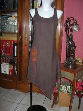 robe destructurée 2026  marron motifs peints orange T 1 36  38 S 1 dress brown