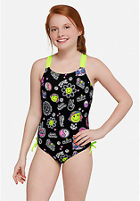 Justice Girl's Peace Love & Emoji One Piece Bathing Suit Size 7 NWT