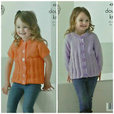 KNITTING PATTERN Childrens Long & Short Sleeve Cable Cardigan DK King Cole 4220