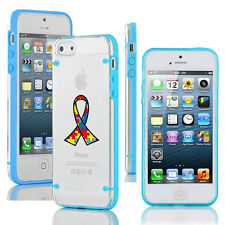 For iPhone Slim Clear TPU Hard Case Cover Autism Awareness Ribbon Puzzle Color