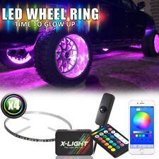 "15"" RGB LED Illuminated Wheel Rings Rim Light Kit w/Switch Bluetooth App Control"