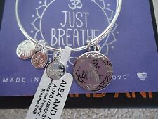 Alex and Ani JUST BREATHE Shiny Silver Charm Bangle New W/ Tag Card & Box