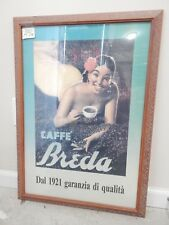 Caffe' Breda Lithograph Poster by Boccasile Linen Backed Framed