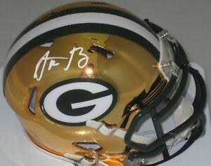Packers AARON RODGERS Signed Riddell CHROME Mini Helmet AUTO  - NFL MVP - Stnr