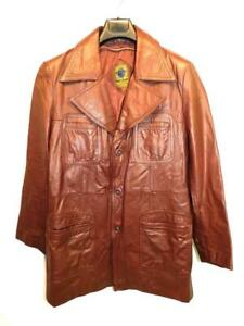 Vintage S M Brown Leather Coat World Wide Sports Wear Notched Collar Button Mens