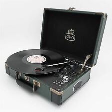 GPO Ambassador Turntable - Black and Green 3 Speed Retro Record Player